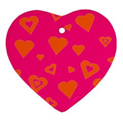 Hot Pink And Orange Hearts By Khoncepts Com Heart Ornament by Khoncepts