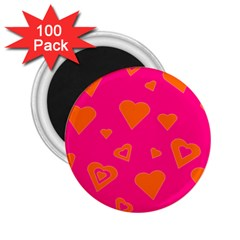 Hot Pink And Orange Hearts By Khoncepts Com 2 25  Button Magnet (100 Pack)