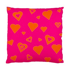 Hot Pink And Orange Hearts By Khoncepts Com Cushion Case (two Sided)  by Khoncepts