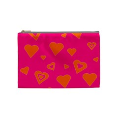 Hot Pink And Orange Hearts By Khoncepts Com Cosmetic Bag (medium) by Khoncepts