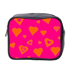 Hot Pink And Orange Hearts By Khoncepts Com Mini Travel Toiletry Bag (two Sides) by Khoncepts