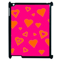Hot Pink And Orange Hearts By Khoncepts Com Apple Ipad 2 Case (black) by Khoncepts