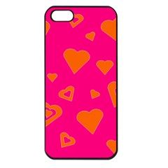 Hot Pink And Orange Hearts By Khoncepts Com Apple Iphone 5 Seamless Case (black) by Khoncepts