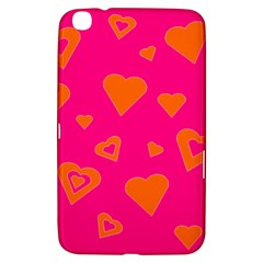 Hot Pink And Orange Hearts By Khoncepts Com Samsung Galaxy Tab 3 (8 ) T3100 Hardshell Case  by Khoncepts