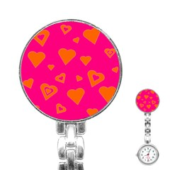 Hot Pink And Orange Hearts By Khoncepts Com Stainless Steel Nurses Watch by Khoncepts