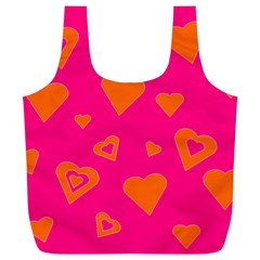 Hot Pink And Orange Hearts By Khoncepts Com Reusable Bag (xl) by Khoncepts