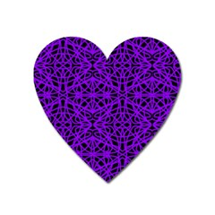 Black And Purple String Art Magnet (heart) by Khoncepts