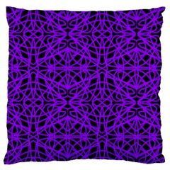 Black And Purple String Art Large Cushion Case (one Side) by Khoncepts