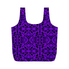 Black And Purple String Art Full Print Recycle Bag (m) by Khoncepts