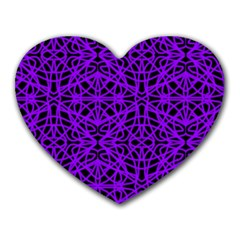 Black And Purple String Art Mousepad (heart) by Khoncepts