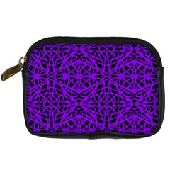 Black And Purple String Art Digital Camera Leather Case by Khoncepts