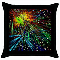 Exploding Fireworks Black Throw Pillow Case by StuffOrSomething