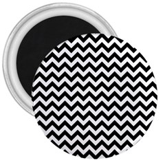 Black And White Zigzag 3  Button Magnet by Zandiepants