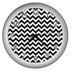 Black And White Zigzag Wall Clock (silver) by Zandiepants
