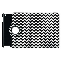 Black And White Zigzag Apple Ipad 2 Flip 360 Case by Zandiepants