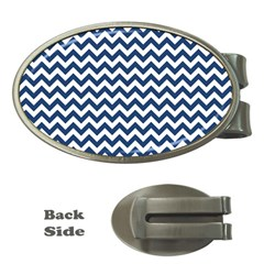 Dark Blue And White Zigzag Money Clip (oval) by Zandiepants