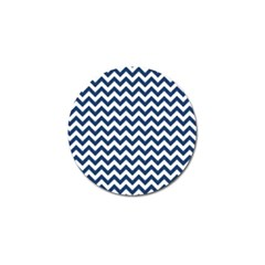 Dark Blue And White Zigzag Golf Ball Marker by Zandiepants