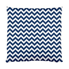 Dark Blue And White Zigzag Cushion Case (single Sided)  by Zandiepants
