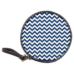 Dark Blue And White Zigzag Cd Wallet by Zandiepants
