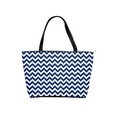 Dark Blue And White Zigzag Large Shoulder Bag by Zandiepants