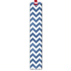 Dark Blue And White Zigzag Large Bookmark