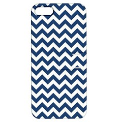 Dark Blue And White Zigzag Apple Iphone 5 Hardshell Case With Stand by Zandiepants