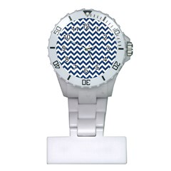 Dark Blue And White Zigzag Nurses Watch by Zandiepants
