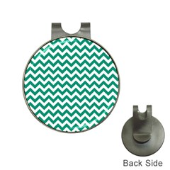 Emerald Green And White Zigzag Hat Clip With Golf Ball Marker by Zandiepants