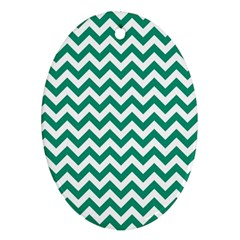 Emerald Green And White Zigzag Oval Ornament (two Sides) by Zandiepants
