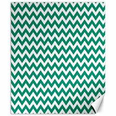 Emerald Green And White Zigzag Canvas 8  X 10  (unframed) by Zandiepants