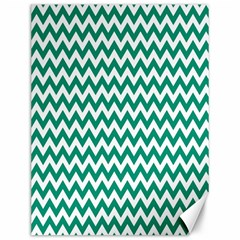 Emerald Green And White Zigzag Canvas 12  X 16  (unframed) by Zandiepants