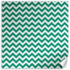 Emerald Green And White Zigzag Canvas 20  X 20  (unframed) by Zandiepants