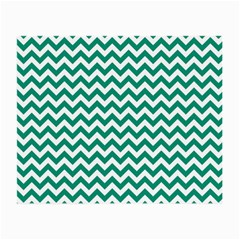 Emerald Green And White Zigzag Glasses Cloth (small, Two Sided) by Zandiepants