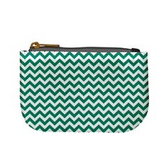 Emerald Green And White Zigzag Coin Change Purse by Zandiepants