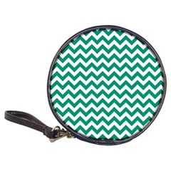 Emerald Green And White Zigzag Cd Wallet by Zandiepants
