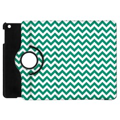 Emerald Green And White Zigzag Apple Ipad Mini Flip 360 Case by Zandiepants