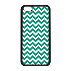 Emerald Green And White Zigzag Apple Iphone 5c Seamless Case (black) by Zandiepants