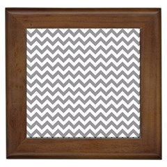 Grey And White Zigzag Framed Ceramic Tile by Zandiepants