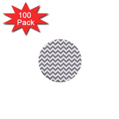 Grey And White Zigzag 1  Mini Button (100 Pack) by Zandiepants