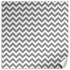 Grey And White Zigzag Canvas 16  X 16  (unframed) by Zandiepants