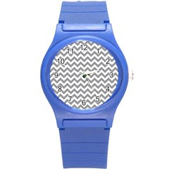 Grey And White Zigzag Plastic Sport Watch (small) by Zandiepants