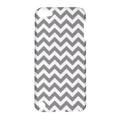 Grey And White Zigzag Apple Ipod Touch 5 Hardshell Case by Zandiepants