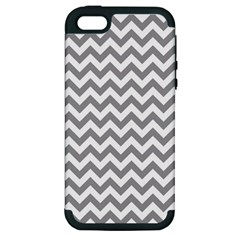 Grey And White Zigzag Apple Iphone 5 Hardshell Case (pc+silicone) by Zandiepants
