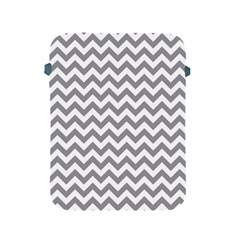 Grey And White Zigzag Apple Ipad Protective Sleeve by Zandiepants