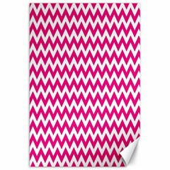 Hot Pink And White Zigzag Canvas 20  X 30  (unframed) by Zandiepants