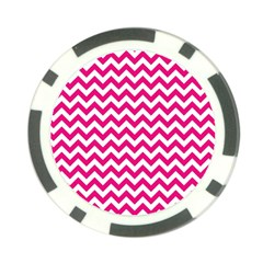 Hot Pink And White Zigzag Poker Chip by Zandiepants