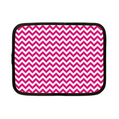 Hot Pink And White Zigzag Netbook Sleeve (small) by Zandiepants