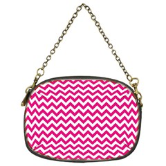 Hot Pink And White Zigzag Chain Purse (one Side) by Zandiepants
