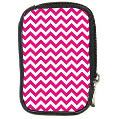 Hot Pink And White Zigzag Compact Camera Leather Case by Zandiepants