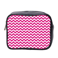 Hot Pink And White Zigzag Mini Travel Toiletry Bag (two Sides) by Zandiepants